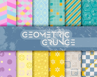 Abstract Geometric digital paper pack, grunge / scrapbooking / card making / papercraft, 24 A4 designs - Geometric Grunge