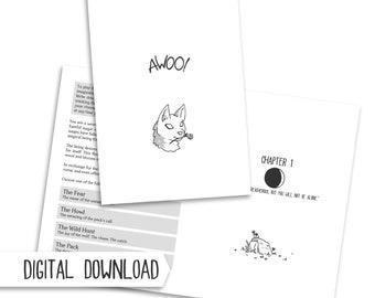 Awoo! PDF werewolf RPG zine - fantasy tabletop role playing game, dice, geek gift, spooky monster storytelling, digital download