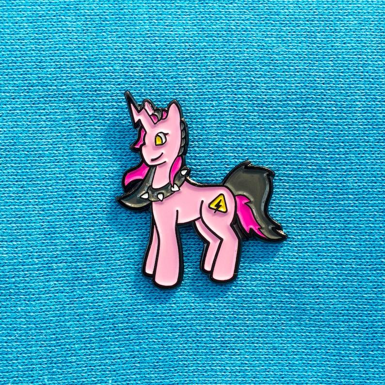 Punk unicorn soft enamel pin  punk rock lapel badge gift for image 0