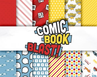 Comic Book / Superhero digital paper pack, scrapbooking / card making / papercraft, 24 A4 designs - Comic Book Blast