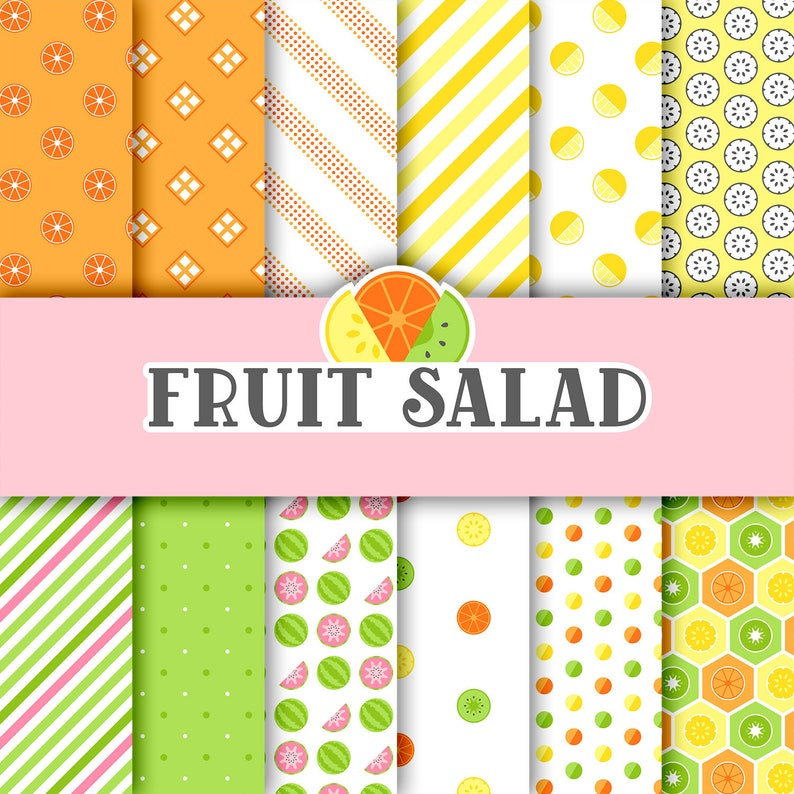 photo regarding Printable Design titled Fruit salad A4 electronic paper pack with 24 options - printable citrus fruit sbook paper, card creating, small children crafts, origami