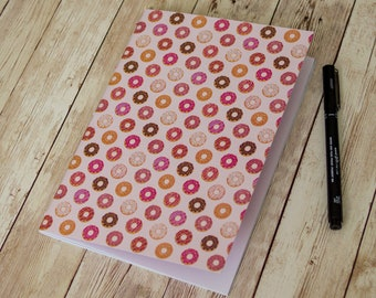 Cute Doughnut A5 journal, donut notebook, sweet treat gift, 40 page sketchbook, saddle stitched, back to school supplies, desk essentials