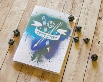 Dungeons and Dragons journal A5 DnD notebook / sketchbook, 40 pages, RPG, tabletop gaming, dice, player