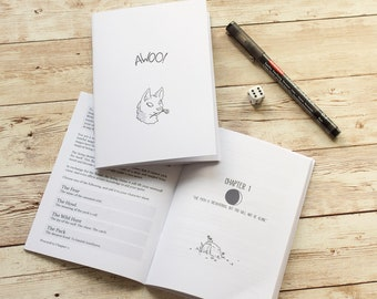 Awoo! A6 werewolf RPG zine - fantasy tabletop role playing game, dice, geek gift, spooky monster storytelling