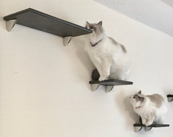 5pc Contempo Cat Wall Tree Tower 2 Cat Shelves 3 Cat Steps