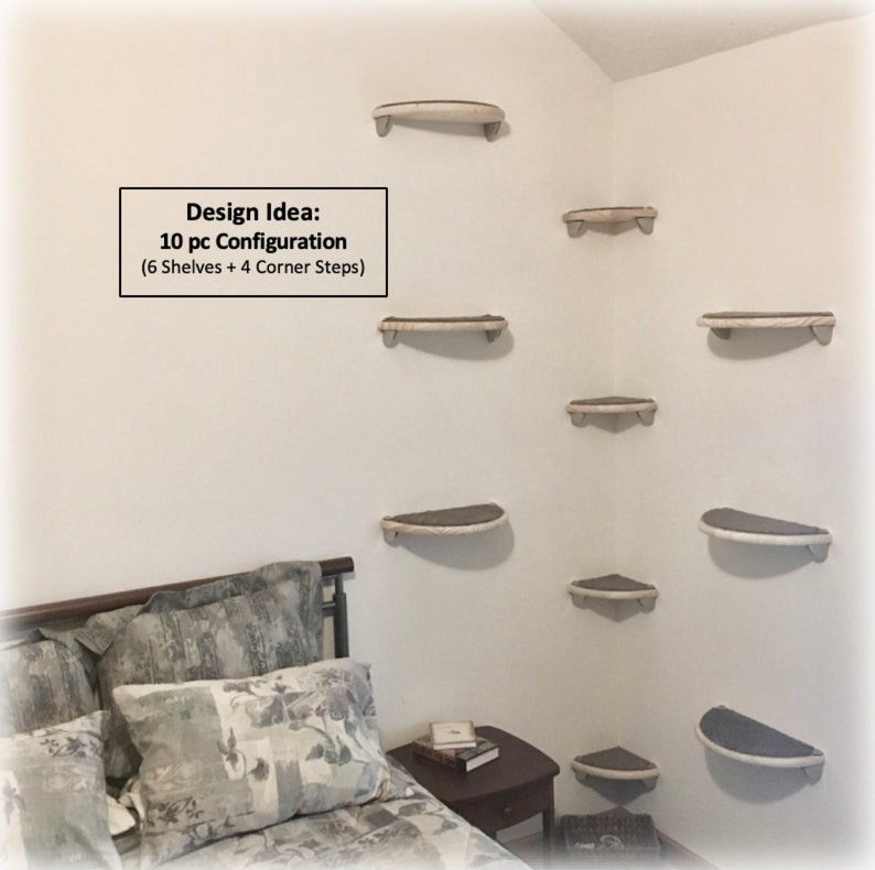 Lunar Collection modern half moon floating wall mounted cat climbing wall tree shelves perch bed furniture 2 Cat Wall Shelves 18