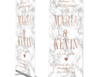 Marble and Rose Gold Wedding Welcome Banner
