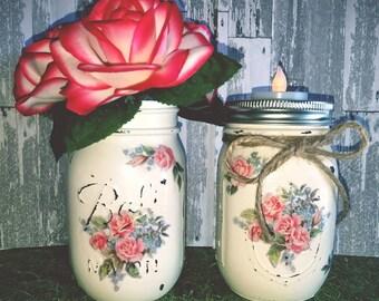 Rose Print Tealight Set