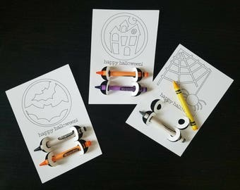 Halloween Coloring Cards Set of 20