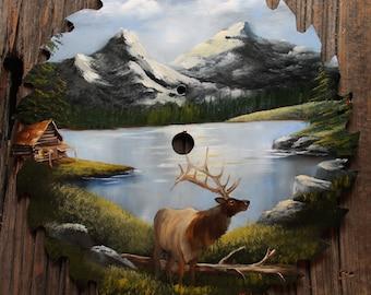 "Mountain Lake with Elk Round Blade 10"" - 11"""