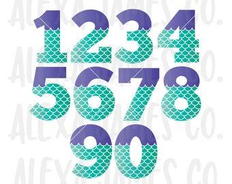 Mermaid Numbers svg, Numbers 0 -9 svg, Mermaid Scales svg, 1st birthday svg, 2nd Birthday svg, 3rd Birthday, Cricut, Silhouette, svg png pdf