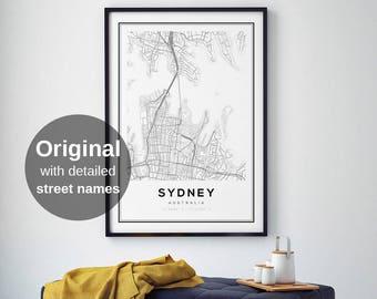 Sydney Map Print, Sydney City, Sydney Map Poster, Australia, City Map Print, Black and White Map, Australia Map Print, Digital Wall Art