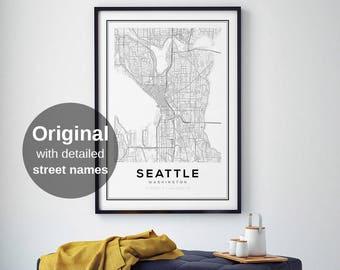 Seattle Map Print, Washington City Maps, City Map Prints, Wall Art, Seattle Washington, US City Maps, Black and White maps, Seattle City Map