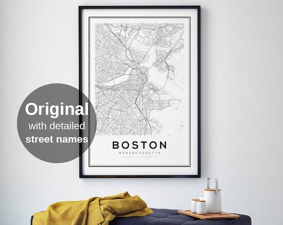 Boston Map Print, City Map Decor, City Map Wall Art, Massachusetts Map,