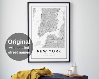 new york map print manhattan nyc map manhattan map poster nyc