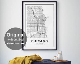 Chicago, Chicago Map, Chicago Illinois Map, Chicago Map Print, Illinois Map, United States Map Print, Chicago Illinois Black and White Map
