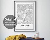 London Map Print, London City, London Map Poster, United Kingdom, City Map Print, Black and White Map, UK, England Print