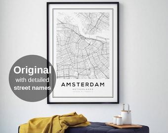 Amsterdam Map Print, Amsterdam City, Holland Print, Amsterdam Map Poster, Amsterdam, Black and White Map, Amsterdam Kaart, Netherlands