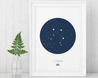 Libra Print, Libra wall art, Zodiac Wall Art, Digital Prints, Constellation Prints, Libra Constellation, Libra Posters, Blue Nursery Prints