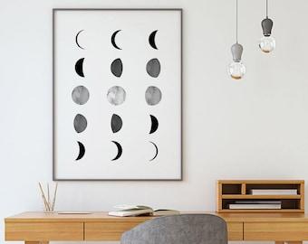 Moon Phases Prints, Affiche Scandinave, Moon Print, Moon Poster, La Lune Print, Luna Print, Scandinavian Print, Moon Wall Art, Nordic Print
