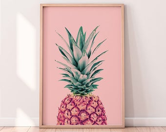 Pineapple Print, Tropical Fruit Wall Art, Kitchen Decor, Fruit print, Printable Poster, Digital Download, Pink and Green, Modern Minimalist