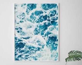 Ocean Waves Print, Ocean wall art, Ocean Photography, Ocean art, Wave Printable, Ocean Waves Art, Water Waves, Blue Art, Blue Print, Ocean