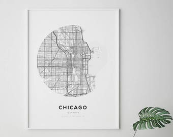 graphic regarding Printable Maps of Chicago named Chicago map print Etsy