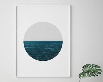 Scandinavian Circle Art, Modern Circle Art, Minimalist Ocean Print, Ocean Circle Print, Digital Wall Art, Instant Download, Digital Print