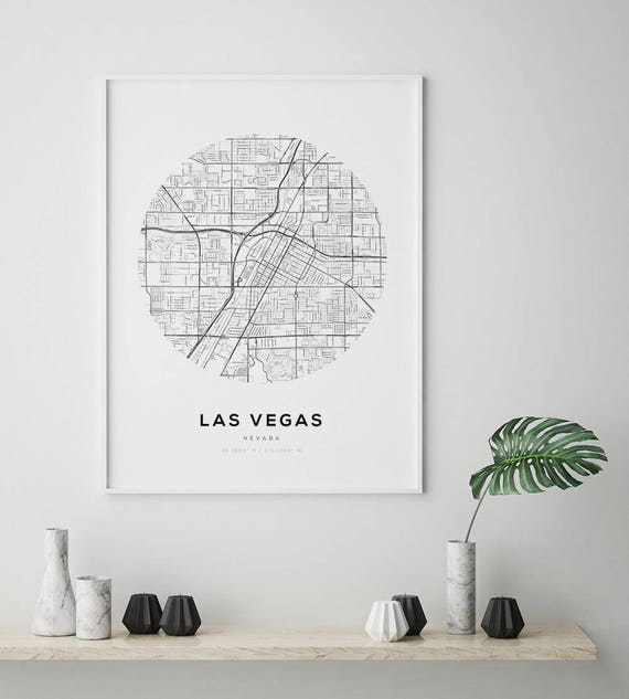 Las Vegas City Map, Nevada Map Print, Street Map Print, Nevada Street Map,  Las Vegas Map Print, Las Vegas, Nevada, Map Wall Art, Circle Art
