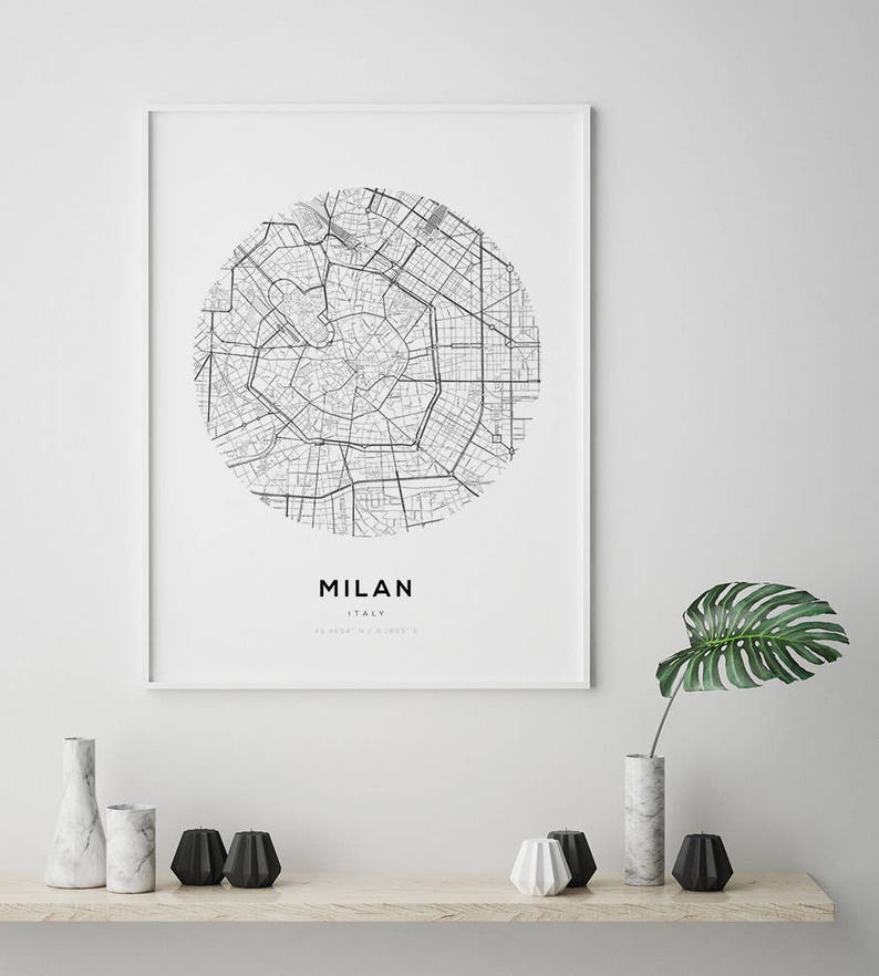Milan City Map Milan City Map Art Street Map Poster Fashion Etsy