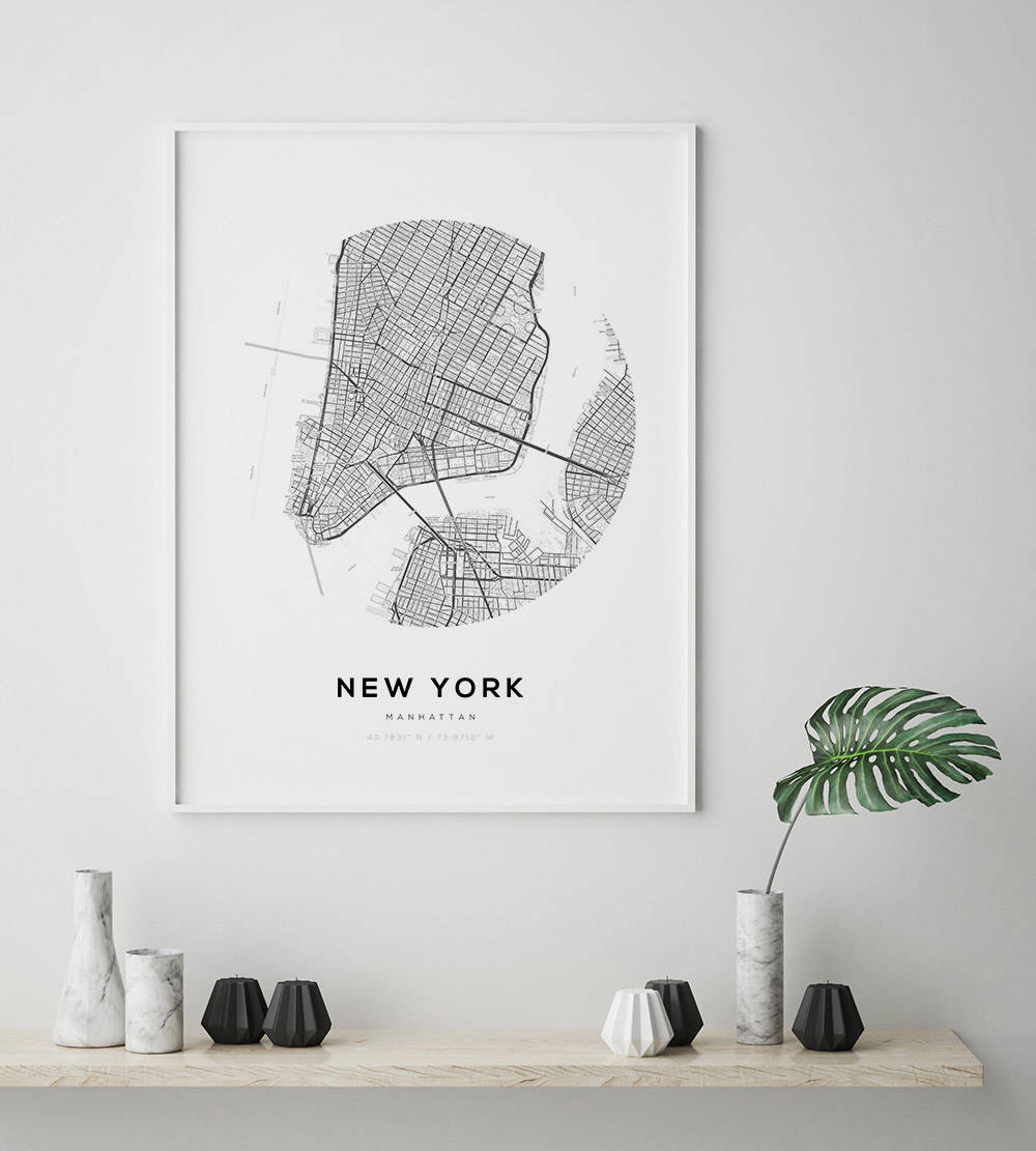 New York City Map NY Map Art Modern Minimalist NYC Map Poster - New york city map wall art