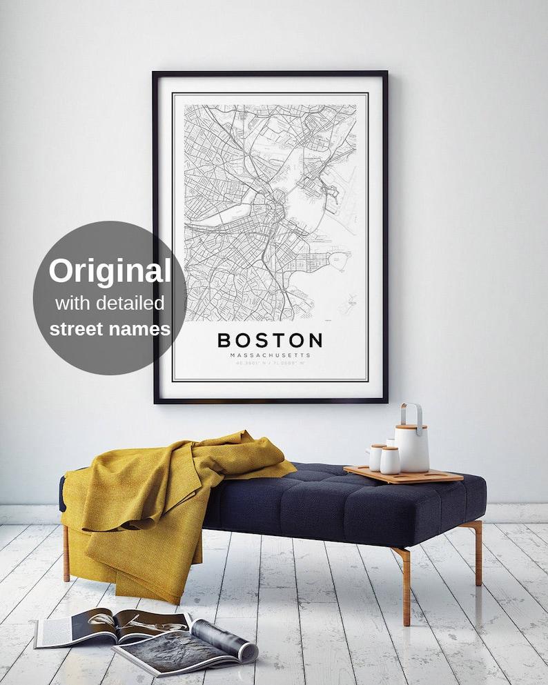 Boston Map Print City Map Decor City Map Wall Art Etsy