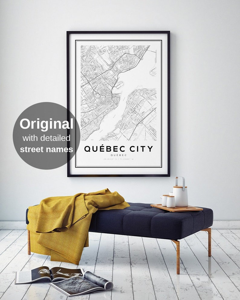 Quebec Map Print Quebec City Maps Quebec Maps Map of image 1