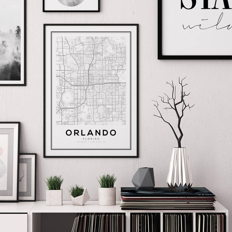 Orlando Map Print Florida City Map FL Map Print Orlando image 1