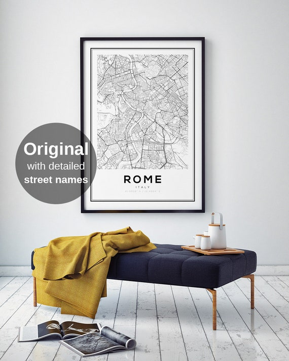 Italy Map Wall Art.Rome Map Print Rome Italy Map Of Italy Rome Wall Art Rome Etsy