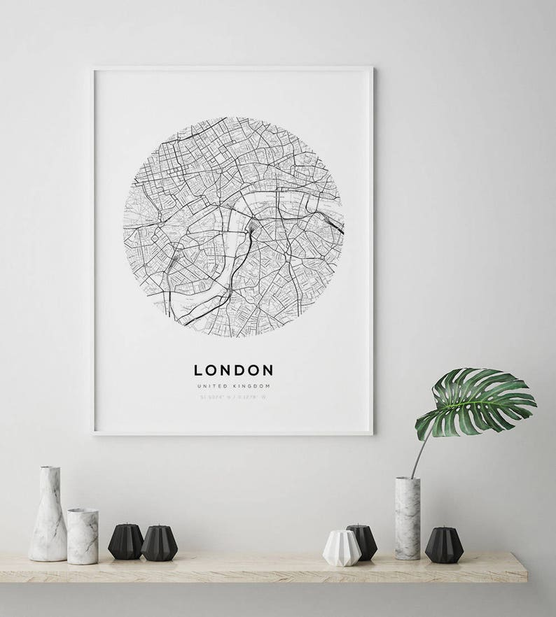 London Map Poster City Map Print Uk Map Print London City Etsy
