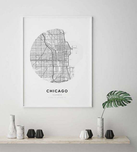 Chicago Location In Us Map.Chicago Map Poster Us Map Print Street Map Print Illinois Etsy