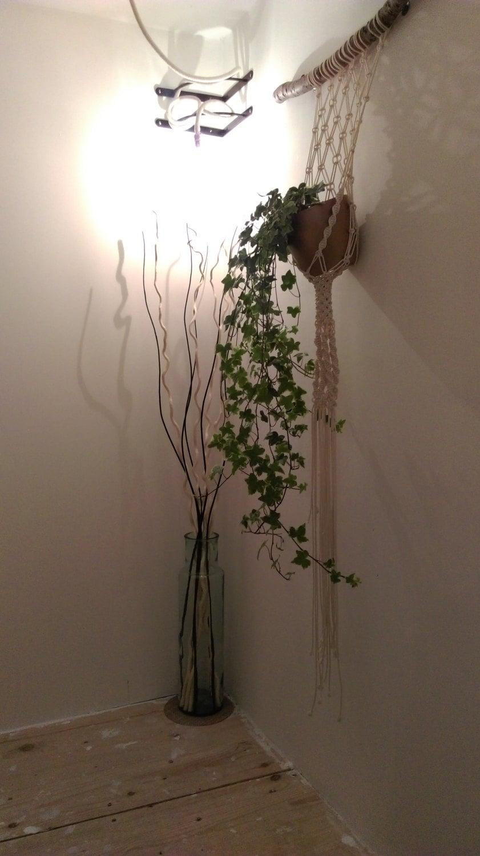 suspension murale pour plante en macram bois flott etsy. Black Bedroom Furniture Sets. Home Design Ideas