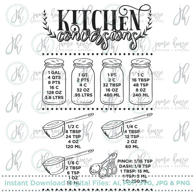 Download Farmhouse Kitchen Conversion Chart SVG Cut File Kitchen   Etsy