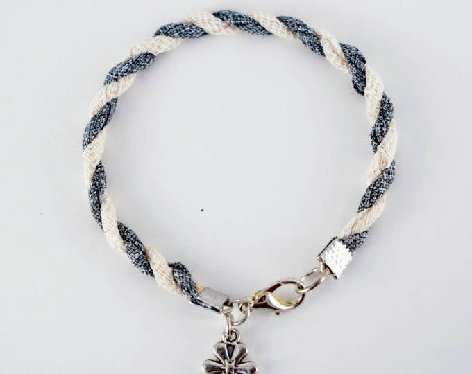 Twisted Ivory and Denim Ribbon Bracelet, Handmade in the USA
