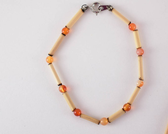 Bamboo and Carnelian, Natural Stone Bracelet, Beaded Bracelet, Ethical Jewelry, Sustainable Jewelry Handmade in the USA