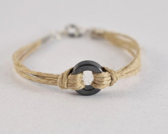 Hemp And Hematite Bracelet