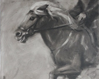 Cantering Black and White Mare