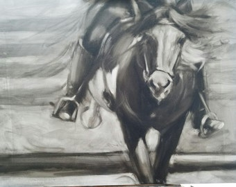 Horse and Rider in Black and White