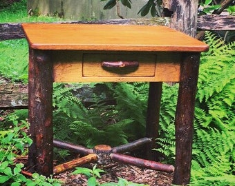 Rustic Furniture, Rustic Lodge Table with Hickory Log legs
