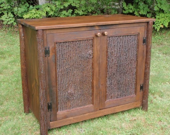 Rustic Furniture, Lodge Furniture, Custom Rustic Cabinet, Entertainment Center, Bark panel doors,TV Cabinet, Storage Cabinet, Living Room