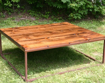 Modern Rustic Coffee Table Metal Base, Coffee Table, Lodge Table, Mountain Modern Coffee Table, Iron Table, Living Room Table, Rustic Table