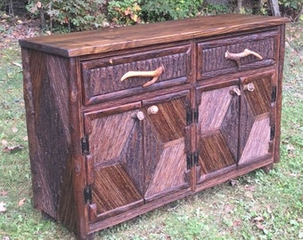 Handcrafted Rustic Furniture, Mountain Modern Credenza, Buffet Cabinet, Console,Twig, Bark, Antler Handles, Lodge Furniture