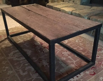 Rustic Iron Base Coffee Table Reclaimed Barnwood Top-Mountain Modern Furniture-Repurposed Barnwood