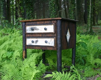 Rustic Furniture, Rustic Lodge Twig and Birch Bark Side Table Hickory Legs
